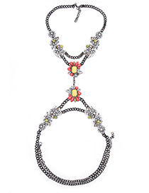 Exaggerate Red Geometric Shape Gemstone Decorated Long Chain Body Chain