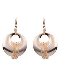 Exaggerate Gold Color Circle Decorated Simple Pure Color Earrings