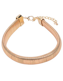 Personality Gold Color Pure Color Decorated Simple Wide Choker