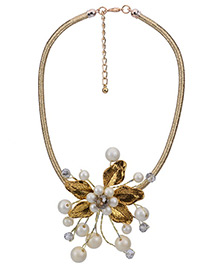 Elegant Gold Color Flower Shape Decorated Simple Short Chain Necklace