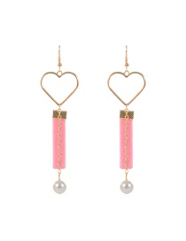 Trendy Pink Heart Shape Decorated Hollow Out Design Color Matching Earrings