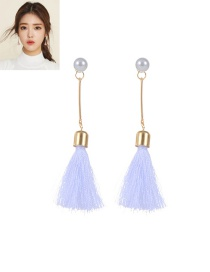 Trendy White Tassel&pearl Decorated Color Matching Simple Long Earrings