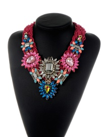 Trendy Claret Red Geometric Shape Diamond Decorated Flower Design Necklace