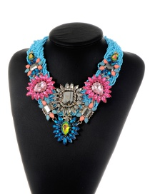 Trendy Blue Geometric Shape Diamond Decorated Flower Design Necklace