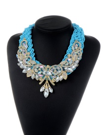 Trendy Blue Water Drop Shape Diamond Decorated Color Matching Necklace