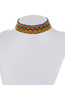 Retro Multi-color Waving Pattern Decorated Simplre Color-matching Bead Choker