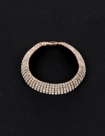 Elegant Gold Color Round Shape Diamond Decorated Multilayer Simple Bracelet