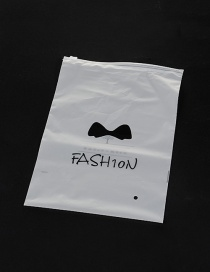Fashion White Bowknot Pattern Decorated Pure Color Simple Plastic Hermetic Bag (1pcs)
