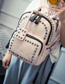 Fashion Pink Rivets Decorated Simple Design Pure Color Backpack