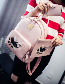 Trendy Pink Cat Pattern Decorated Pure Color Simple Backpack (3 Pcs)