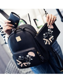Trendy Black Cat Pattern Decorated Pure Color Simple Backpack (3 Pcs)