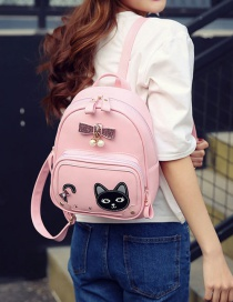 Fashion Pink Cat&bowknot Pattern Decorated Color Matching Backpack