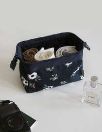 Fashion Black Flower Pattern Decorated Color Matching Make Up Bags