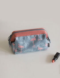 Fashion Gray Flower Pattern Decorated Color Matching Make Up Bags