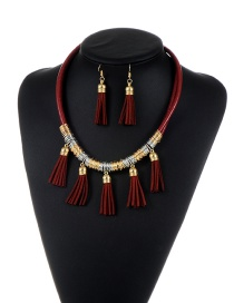 Fashion Claret Red Tassel Pendant Decorated Pure Color Design Jewelry Sets