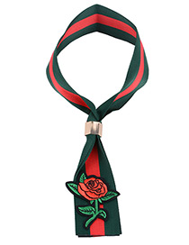Vintage Green+red Rose Shape Decorated Simple Color-matching Choker