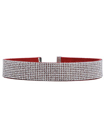 Vintage Red Round Shape Diamond Decorated Simple Wide Choker