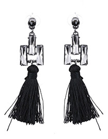 Bohemia Black Square Shape Diamond Decorated Simple Tassel Earrings
