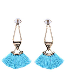 Bohemia Blue Triangle Decorated Simple Tassel Hollow Out Design Earrings