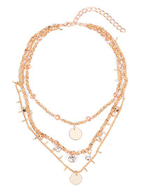 Fashion Gold Color Metal Round Shape Decorated Simple Pure Color Multilayer Necklace