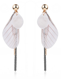 Fashion White Oval Shape Decorated Simple Long Chain Earrings