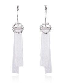 Lovely White A Strip Of Cloth Decorated Simple Long Chain Earrings