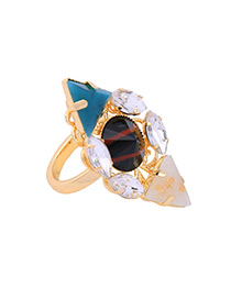 Personality Multi-color Geometric Shape Diamond Decorated Simple Hollow Out Ring