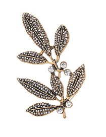Vintage Gold Color Round Shape Diamond $leaf Shape Decorated Simple Hairpin