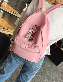 Fashion Pink Pure Color Decorated Square Shape Simple Backpack