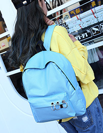 Fashion Blue Circular Rings Decorated Pure Color Simple Backpack