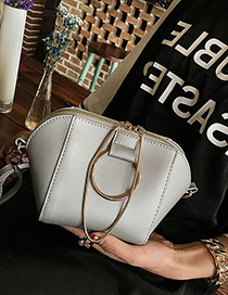 Fashion Gray Circular Ring Decorated Pure Color Shell Shape Shoulder Bag