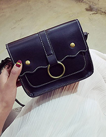 Trendy Black Circular Ring Decorated Pure Color Shoulder Bag