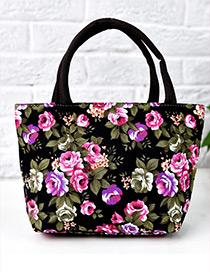 Lovely Black Painting Flower Pattern Decorated Square Shape Handbag