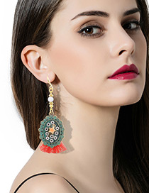 Trendy Bronze Tassel&flower Decorated Color Matching Simple Earrings