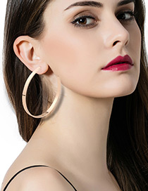 Fashion Gold Color Circular Ring Shape Decorated Pure Color Simple Earrings