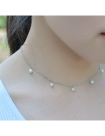 Fashion Silver Color Pearl Decorated Pure Color Simple Design Choker