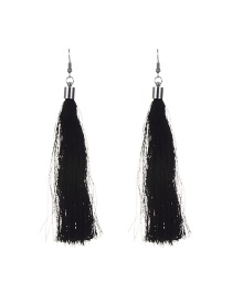 Fashion Black Long Tassel Decorated Pure Color Simple Earrings