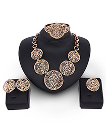 Fashion Gold Color Flower Decorated Hollow Out Pure Color Jewelry Sets