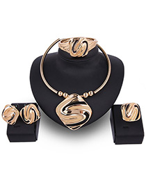 Fashion Gold Color Pure Color Decorated Irregular Shape Jewelry Sets