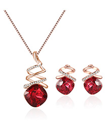 Fashion Gold Color+red Square Shape Diamond Decorated Color Matching Jewelry Sets