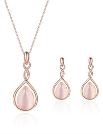 Fashion Rose Gold Water Drop Shape Diamond Decorated Color Matching Jewelry Sets