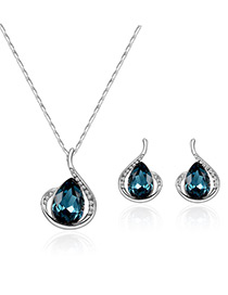 Fashion Silver Color+blue Water Drop Shape Diamond Decorated Color Matching Jewelry Sets