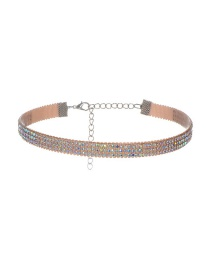 Vintage Multi-color Round Shaope Diamond Decorated Simple Wide Choker
