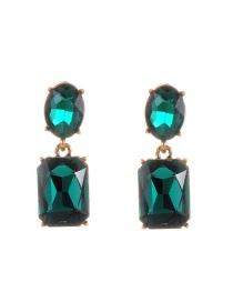 Trendy Green Pure Color Decorated Geometric Shape Simple Earrings
