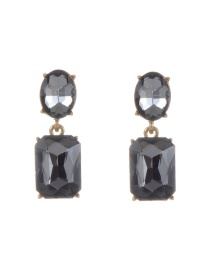 Trendy Gray Pure Color Decorated Geometric Shape Simple Earrings