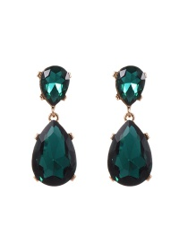 Fashion Green Water Drop Shape Diamond Decorated Pure Color Earrings