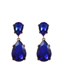 Fashion Sapphire Blue Water Drop Shape Diamond Decorated Pure Color Earrings