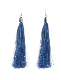 Bohemia Blue Pure Color Decorated Simple Tassel Earrings