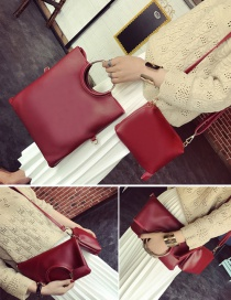Fashion Claret Red Circular Ring Decorated Pure Color Shoulder Bag (2pcs)