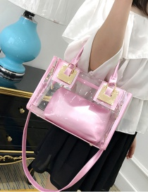 Fashion Pink Pure Color Decorated Transparent Shoulder Bag(2pcs)